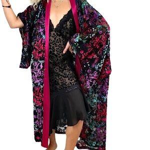 Vintage Victoria's Secret Floral Velvet Satin Robe